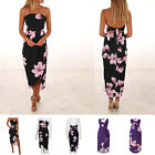Chiffon Dresses Summer Party Beach Sexy Wrapped Chest Print Long Split For Women