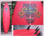 surfboard Rockys Surf City Red Board San Clemente California 3 Fin Vintage