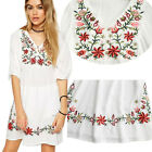 Women Mexican Ethnic Embroidered Floral Gypsy Loose Blouse Boho Mini Dress Hot
