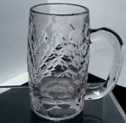 Vintage Clear Glass Handled Beer Mug Hexagon Pattern 5.25
