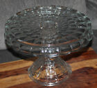 Gorgeous Vtg Indiana Glass Clear Constellation Footed Cake Plate with Rum Well