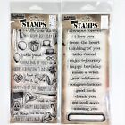 Tim Holtz Lot Of 2 Clear Stamp Sets Things Talk  Saying Stuff Greetings Holiday