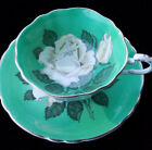 RARE! 1950s Paragon Double Warrant Large White Rose on Green Cup and Saucer
