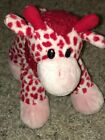 "Baby Cow Beanie Small 10"" White Calf Red Spots Horns Bow Fuzzy Stuffed Cow EUC"