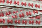 Vintage Trim White and pink Embroidered 3 4 Wide Trim by the Yd