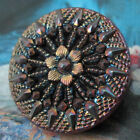 LOVELY Antique Black Glass  Iridescent  Luster Button - Floral w/ Facets