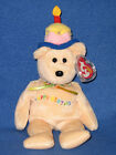 TY HAPPY BIRTHDAY the BEAR WITH CAKE & CANDLE BEANIE BABY - MINT with MINT TAGS