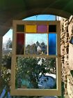 ANTIQUE ORIGINAL QUEEN ANNE STAINED GLASS FULL WINDOW, PA coal town Victorian