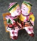 Vintage Scottish Irish KISSING BOY  GIRL ON BENCH Salt  Pepper Shakers