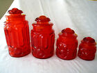 L. E. Smith Amberina Moon and Stars Glass Canisters Apothecary Jars/Lids Set 4