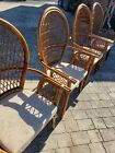 Vintage Bamboo Rattan Wicker Bentwood Fanback Armchairs Set Of Four Free Ship