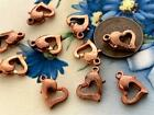 Vintage 11 x 12mm Copper Tone Metal Heart Spring Ring Clasps 10