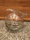 Vintage 1950s Tilted Round Glass Pitcher w/Gold Band - Holds 10 Cups