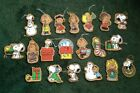 20 VGC Vintage Wood Painted Snoopy Peanuts Christmas Ornaments