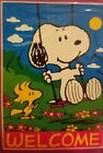 Snoopy Peanuts large decorative flag SWINGING SNOOPY Woodstock NISP WELCOME vtg