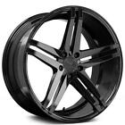 4pcs 22 Staggered Verde Wheels V39 Parallax Gloss Black Rims