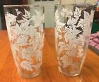 Vintage Drinking Glasses Set Of 2~White Leaf Design~Unmarked