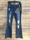 Vintage Reunion Rewash Retro NWT Womens 70s Distressed Torn Blue Jeans Size 3 4