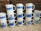 13 Lot Vintage Fire King Anchor Hocking White St Peters Church 1952-82 Mugs-Cups