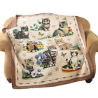 Quilted Throw Blanket Charming Cat Kitten and Floral Collage 6L x 5W