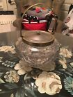 Biscuit Cracker Jar Cut Glass Antique English Clear Elegant EP Bee NS Mark