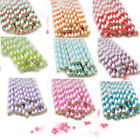 Color Striped Paper Drinking Straws Rainbow Mixed Party Decorations Homeuse 25pc