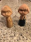 Unique Antique Clay Boy and Girl Salt and Pepper Shakers