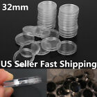 100Pcs Set Clear Mini Coin Capsules Case Holders 32mm Containers Storage Boxes