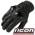 Icon Hypersport Black Leather Motorcycle Short Gloves S 3XL NEW 2019