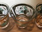 3 Fred Press MCM,Trojan Horse Rocks Old Fashioned Glasses Turquoise Gold, MINT