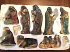 OWell Mahogany 10 Piece Nativity Hand Painted Grandeur Noel Antique
