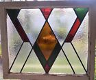 ANTIQUE LEADED ENGLISH STAINED GLASS WINDOW WOOD FRAME ENGLAND OLD HOUSE 69