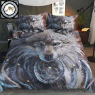 3D Wolf Warrior Native American 3Pcs Bedding Set Duvet Cover Indian Wolf Bed Set