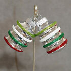Christmas Ornament Glass SHINY BRITE RADKO Lantern Stripe #01 LIME GREEN 2