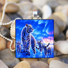 White Tiger family Art Cabochon Glass Tibet Silver Tile Chain Pendant Necklace