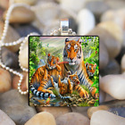 Lovely Tiger Family Art Cabochon Glass Tibet Silver Tile Chain Pendant Necklace
