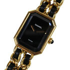 CHANEL Logos Chain Wristwatches Gold Black Leather Swiss Vintage Auth #L401 M