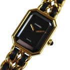CHANEL Logos Chain Wristwatches Gold Black Leather Swiss Vintage Auth #M712 M