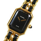 CHANEL Logos Chain Wristwatches Gold Black Leather Swiss Vintage Auth #L387 M
