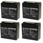 4 PACK UPG UB12180 12V 18AH Insert Terminal Battery for Zap Zappy 1st Gen
