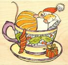 Christmas In A Tea Cup Mouse Wood Mounted Rubber Stamp PENNY BLACK 4197K New