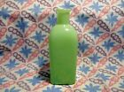 Jadeite Fired On Green Over Clear Square Bottle Vase in Excellent Condition