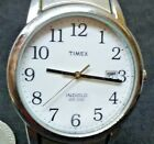 TIMEX WATCH MEN'S INDIGLO DATE SILVER TONE EASY READER WR-30m EXPANSION BAND