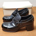 Vintage 70s Milano Black Chunky Heel Leather Platform Disco Shoes Mens 9 1/2