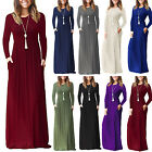 Womens Long Sleeve High Waist Loose Casual Evening Party Maxi Dress With Pockets