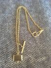 """Vintage Gold Plated Ornate Fancy Chain Decorative Charm Pocket Watch Fob 16"""""""