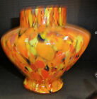 UNUSUAL CZECH GLASS END OF DAY VASE 7X8