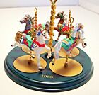 1989 Hallmark Christmas Ornament Carousel Horse Base & all 4 Carousel Horses NIB