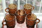 Vintage Fire King Anchor Hocking 5 Kimberly AMBER Brown Diamond Mugs