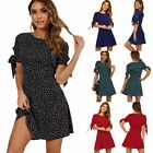 Women's Lace up Sundress Chiffon Dress Polka Dot Print Short Sleeve Mini Dresses